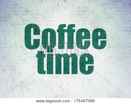 Timeline concept: Painted green word Coffee Time on Digital Data Paper background