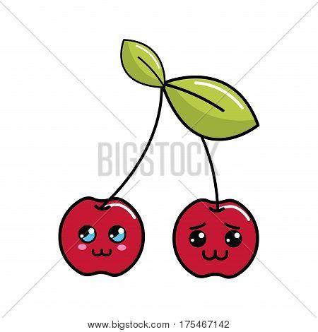 kawaii shy and distracted cherry fruit icon, vector illustraction