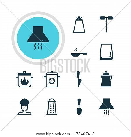 Vector Illustration Of 12 Kitchenware Icons. Editable Pack Of Glass Cup, Stewpot, Tea And Other Elements.