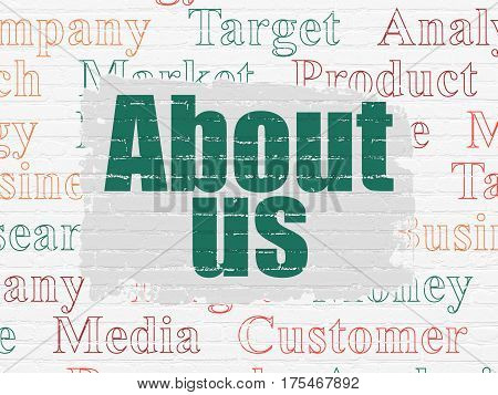 Marketing concept: Painted green text About Us on White Brick wall background with  Tag Cloud