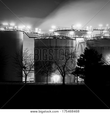 Nightshots of chemical plants in Wesseling near Cologne Germany