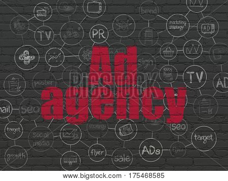 Marketing concept: Painted red text Ad Agency on Black Brick wall background with Scheme Of Hand Drawn Marketing Icons