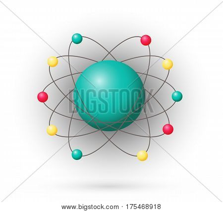 Atom color model with electrons and nucleus