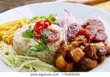 Rice Seasoned with Shrimp Paste (Thai name is khaao khlook gabpi).