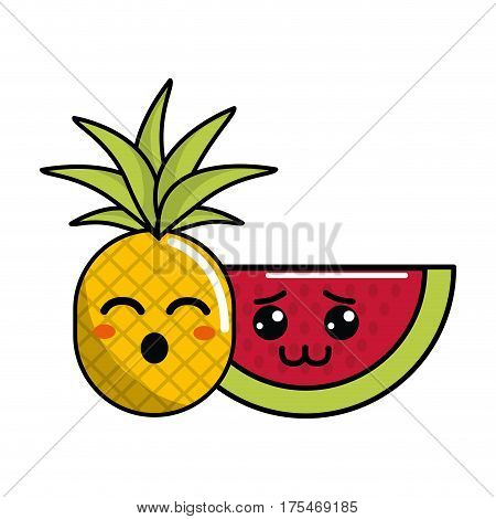 kawaii funny pineapple and shy watermelon icon, vector illustraction design