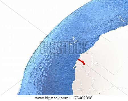 Gambia On Metallic Globe With Blue Oceans