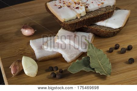 Sliced salted pork lard traditional Ukrainian cuisine