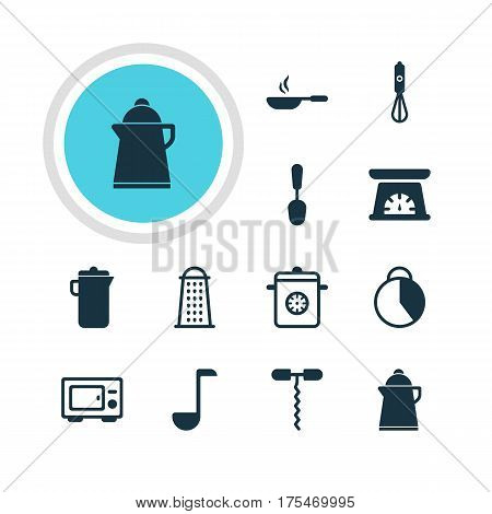 Vector Illustration Of 12 Restaurant Icons. Editable Pack Of Jug, Oven, Timekeeper And Other Elements.