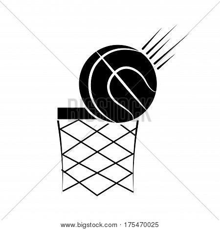 contour basketball and basket with the ball icon, vector illustraction design
