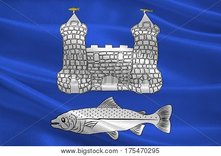 Flag of Chateaulin is a commune in the Finistere department in the region of Brittany in north-western France. 3D illustration