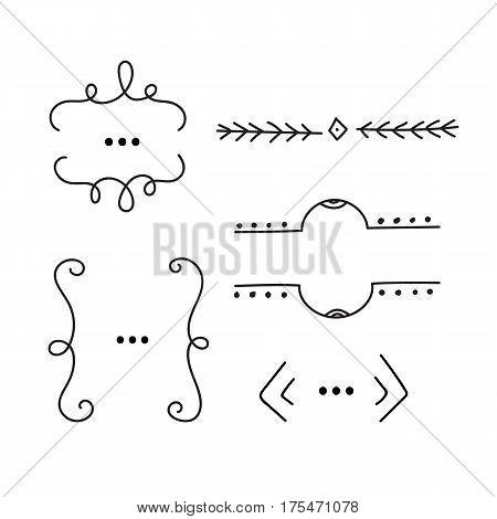 Hand drawn design elements. Dividers frames borders. Vector illustration.