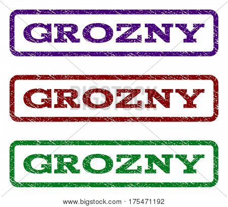 Grozny watermark stamp. Text tag inside rounded rectangle with grunge design style. Vector variants are indigo blue, red, green ink colors. Rubber seal stamp with dust texture.