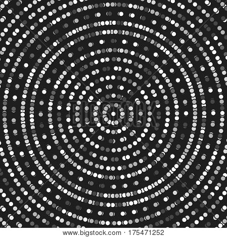 Geometric modern vector round black and white pattern. Fine ornament with dotted elements. Geometric abstract pattern