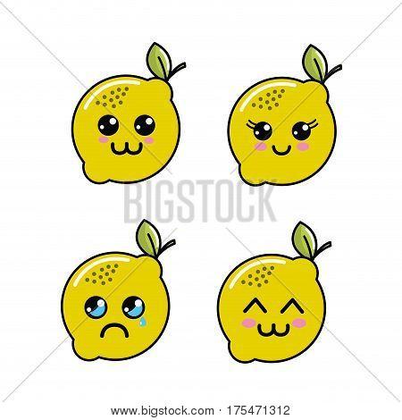 kawaii lemon diferents faces icon, vector illustraction design