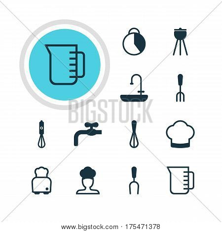 Vector Illustration Of 12 Cooking Icons. Editable Pack Of Timekeeper, Bread, Faucet And Other Elements.