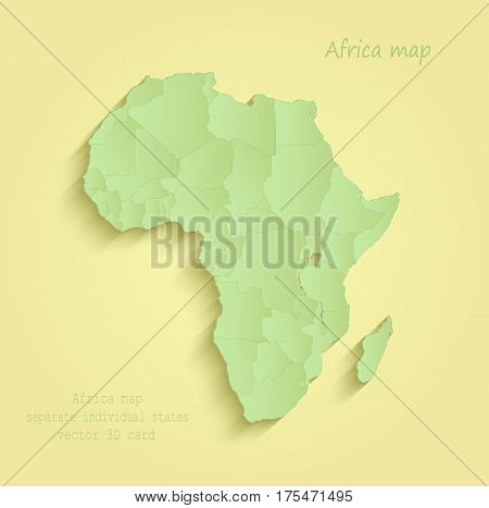 Africa map separate individual states yellow green vector