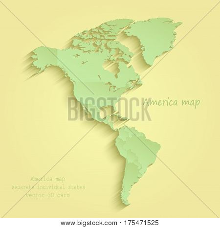 America map separate individual states yellow green vector