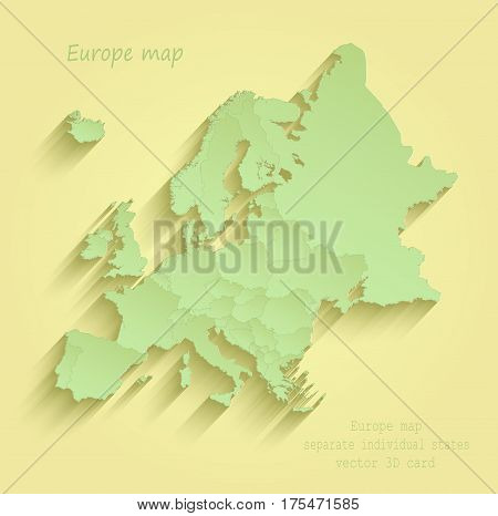 Europe map separate individual states yellow green vector