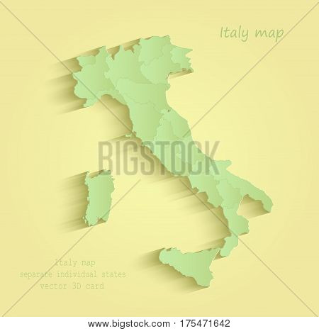 Italy map separate individual states yellow green vector