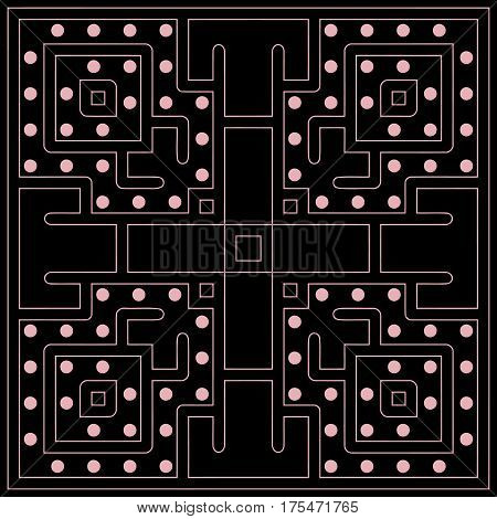 Abstract maze square symmetrical geometric pattern of thin white lines on a black background