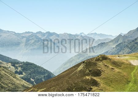 Aspin Pass (Col d Aspin) in summer. This pass is one of the iconic landmarks of the Pyrenees mountains in France