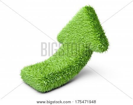 Arrow from grass direction UP. Isolated on white background 3d illustration.