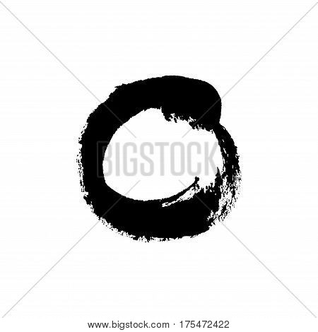 Grudge brush stroke circle isolated on white. Vector design element.