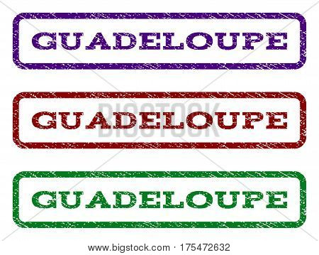 Guadeloupe watermark stamp. Text tag inside rounded rectangle with grunge design style. Vector variants are indigo blue, red, green ink colors. Rubber seal stamp with dust texture.