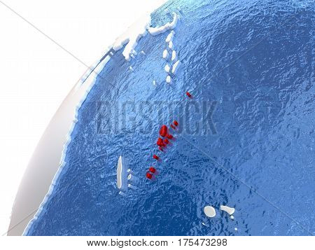 Vanuatu On Metallic Globe With Blue Oceans