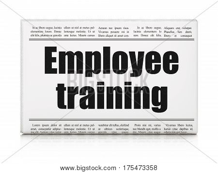 Studying concept: newspaper headline Employee Training on White background, 3D rendering