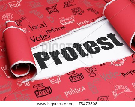 Politics concept: black text Protest under the curled piece of Red torn paper with  Hand Drawn Politics Icons, 3D rendering