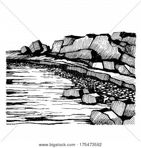 Cliffs Beach. Rocks on the coast. Waves and pebbles rocks in the foreground. Sketch vector illustration.