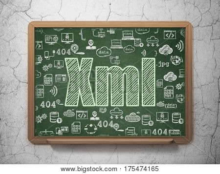 Database concept: Chalk Green text Xml on School board background with  Hand Drawn Programming Icons, 3D Rendering