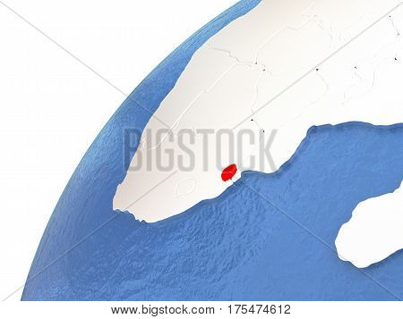 Swaziland On Metallic Globe With Blue Oceans