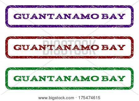 Guantanamo Bay watermark stamp. Text caption inside rounded rectangle with grunge design style. Vector variants are indigo blue, red, green ink colors. Rubber seal stamp with scratched texture.