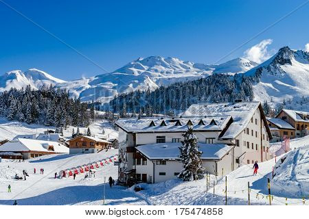 Beautiful Winter Weather On Ski Resort In High Mountains