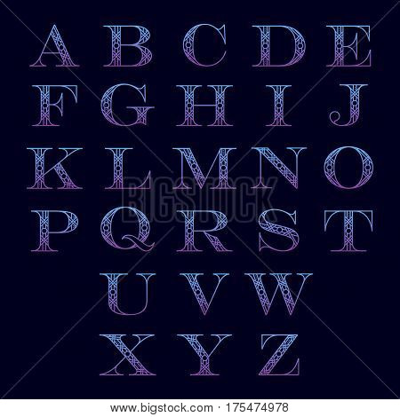 Decorative letters with abstract lines isolated on black background