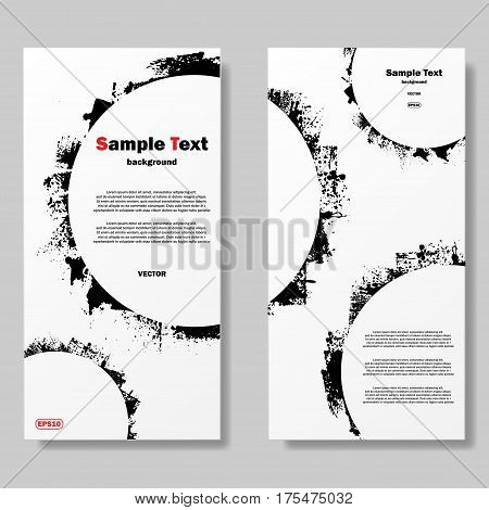 White posters with black grunge circle and sample text