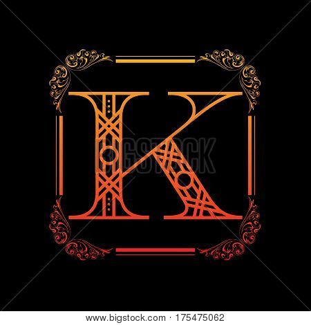 Decorative letter K with abstract frame isolated on black background