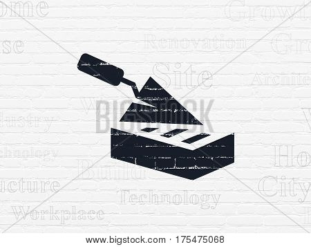 Constructing concept: Painted black Brick Wall icon on White Brick wall background with  Tag Cloud