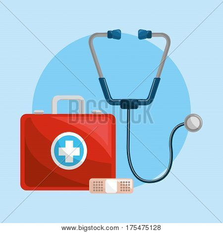 color healthcare, stethoscope and band aid icon, vector illustraction design