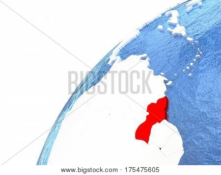 Guyana On Metallic Globe With Blue Oceans