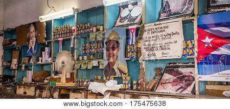 Havana, Cuba on December 23, 2015: Interior view of a local Cuban shop