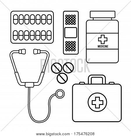 figure healthcare, medications tools icon, vector illustraction deign