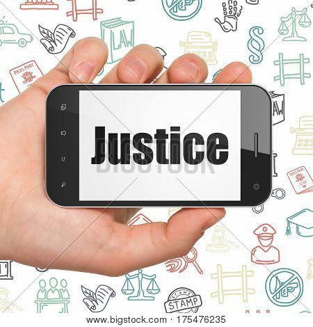 Law concept: Hand Holding Smartphone with  black text Justice on display,  Hand Drawn Law Icons background, 3D rendering