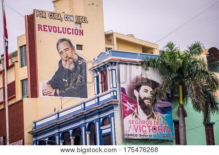 Santiago de Cuba, Cuba on January 4, 2015: Posters of Fidel Castro advertise the revolution. Santiago de Cuba is often referred to as birthplace of the Cuban revolucion.