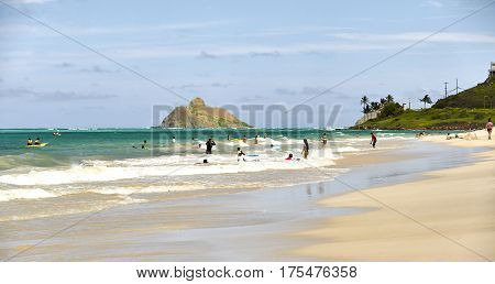 Kailua Hawaii USA - August 1 2026: Families and children play in the ocean shore of Hawaii