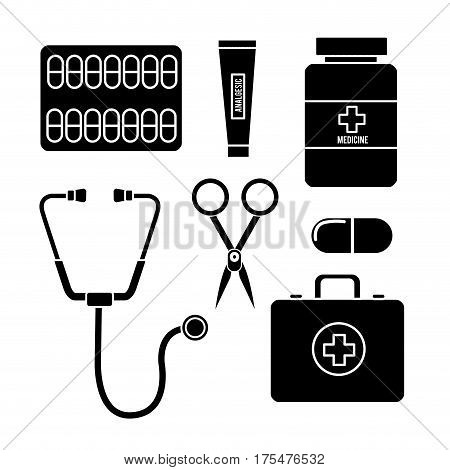 color healthcare, medications tools icon, vector illustraction deign
