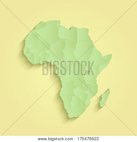 Africa map separate individual states yellow green raster