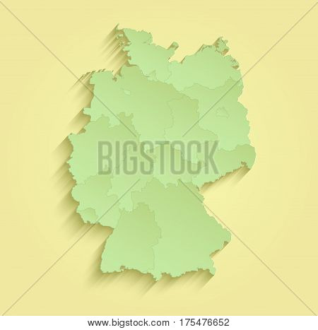 Germany map separate individual states yellow green raster